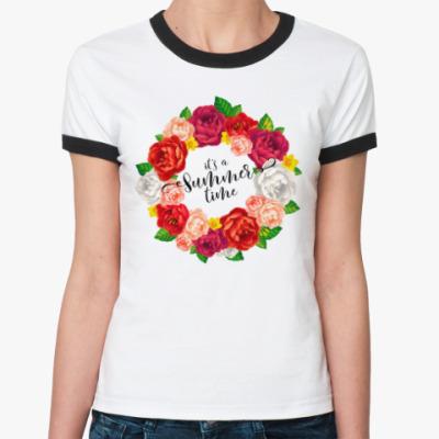 Женская футболка Ringer-T It's a Summer time!