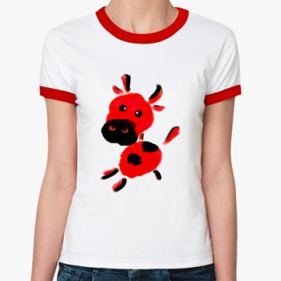 Женская футболка Ringer-T телёнок