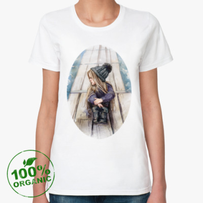 Женская футболка из органик-хлопка Девочка у озера