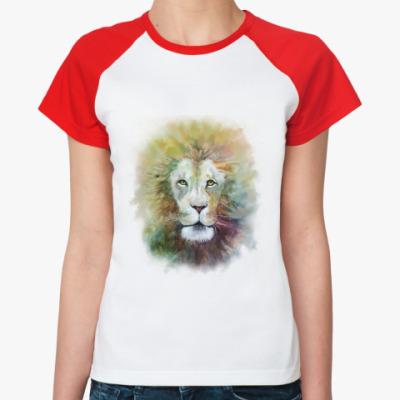 Женская футболка реглан Лев, акварель