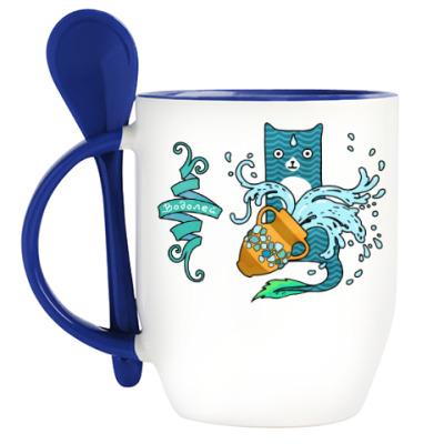 Кружка с ложкой Гороскоп Водолей. Котик Aquarius.
