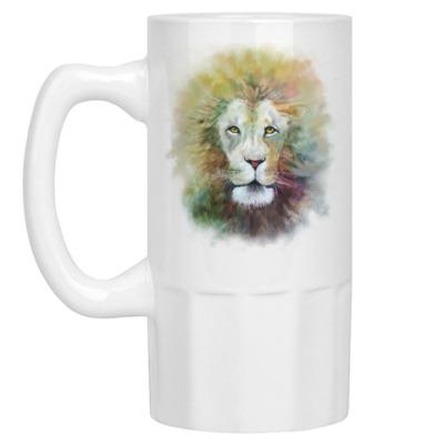Пивная кружка Лев, акварель