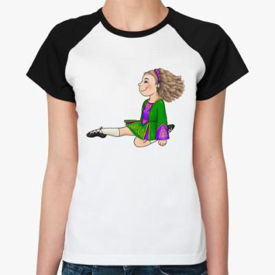 Женская футболка реглан Reel-jumping girl