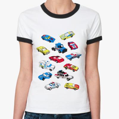 Женская футболка Ringer-T Cars  Жен (бел/чёрн)