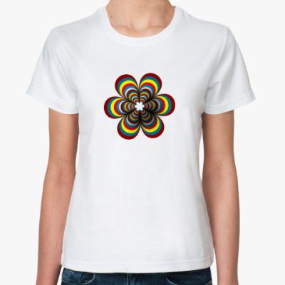 Классическая футболка цветок-радуга
