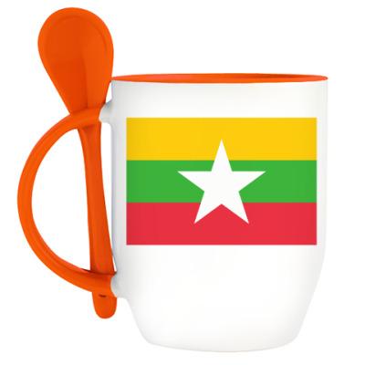 Кружка с ложкой Республика Союз Мьянма
