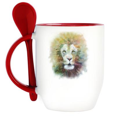 Кружка с ложкой Лев, акварель