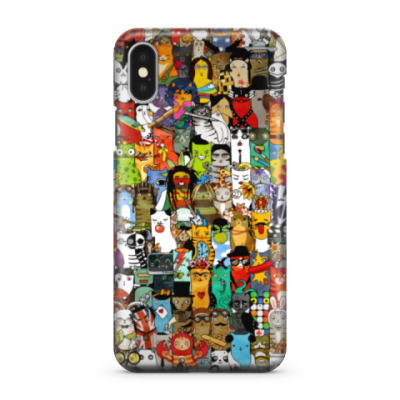 Чехол для iPhone X Забавные существа — паттерн