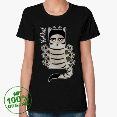 Женская футболка из органик-хлопка Кот Кафка. Превращение.