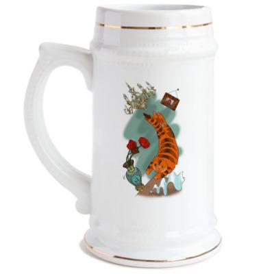 Пивная кружка Рыжий кот