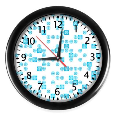Настенные часы голубые снежинки frozenlight