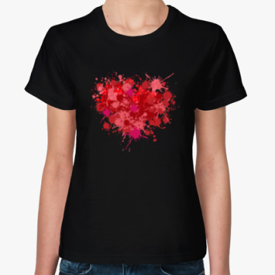 Женская футболка Сердце из брызг краски