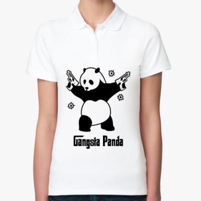 Женская рубашка поло  Gangsta panda