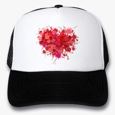 Кепка-тракер Сердце из брызг краски