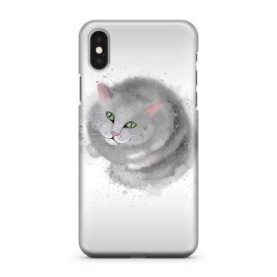 Чехол для iPhone X Серый кот, кошка