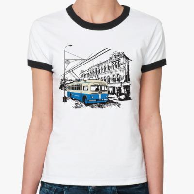 Женская футболка Ringer-T Троллейбус
