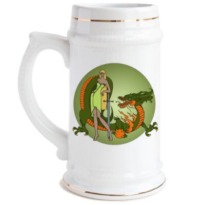 Пивная кружка Девушка и дракон