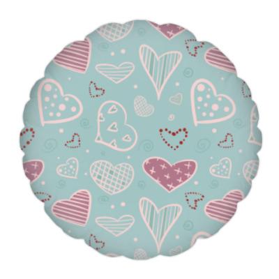 Подушка Узор из сердец, валентинки