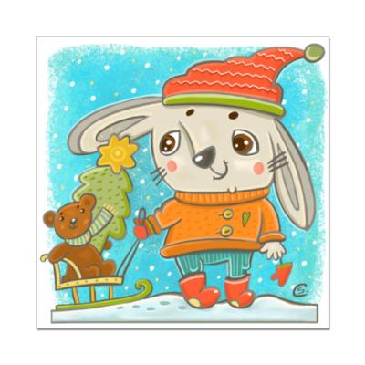Наклейка (стикер)  Зайчик с елочкой