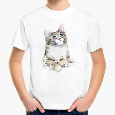Детская футболка Кот в ромашках
