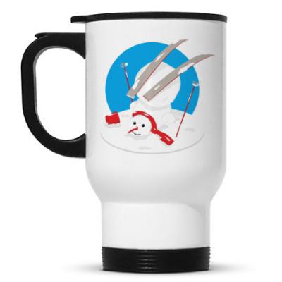 Кружка-термос Неуклюжий снеговик Новый Год