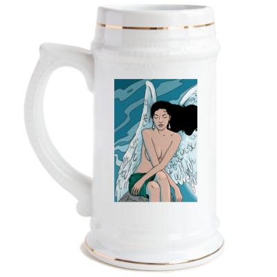 Пивная кружка Девушка и море