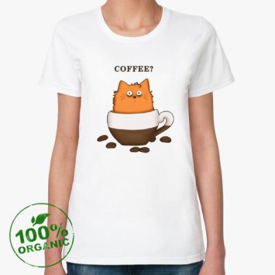 Женская футболка из органик-хлопка Кофейный кот