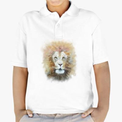 Детская рубашка поло Лев, акварель