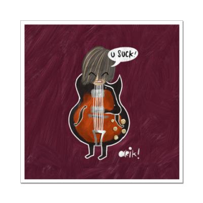 Наклейка (стикер) Человек в костюме гитары
