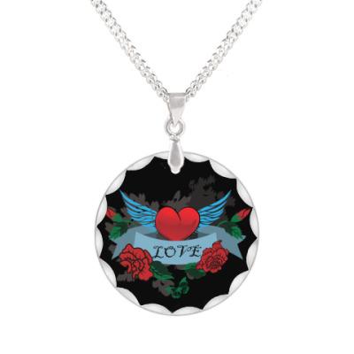 Кулон  Сердце,крылья и розы