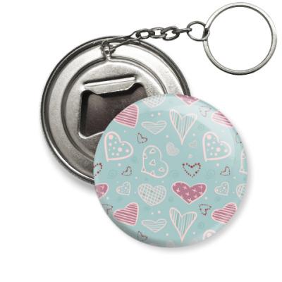 Брелок-открывашка Узор из сердец, валентинки