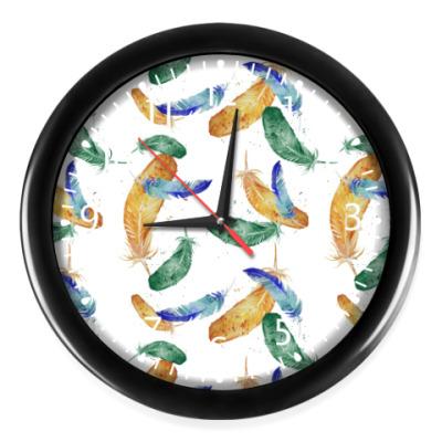 Часы Узор Перья, бохо