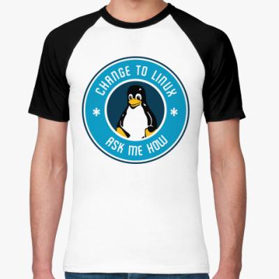 Футболка реглан Change to Linux пингвин Tux