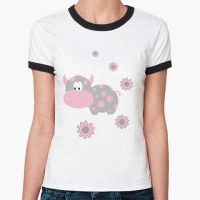 Женская футболка Ringer-T   Коровка
