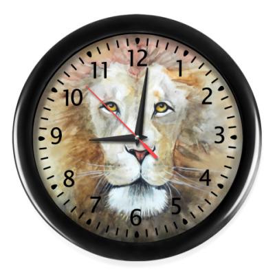 Настенные часы Лев, акварель