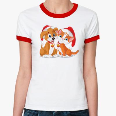 Женская футболка Ringer-T Собачка и кошка