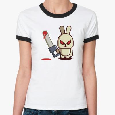 Женская футболка Ringer-T Злой кролик с пилой