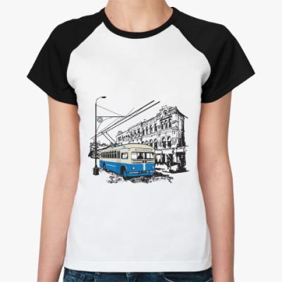 Женская футболка реглан Женская футболка реглан, бел/черн