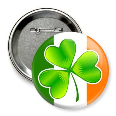 Значок 75мм Irish клевер