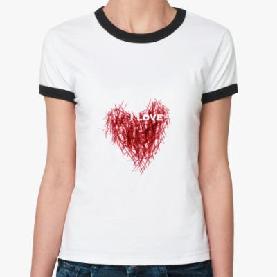 Женская футболка Ringer-T I LOVE