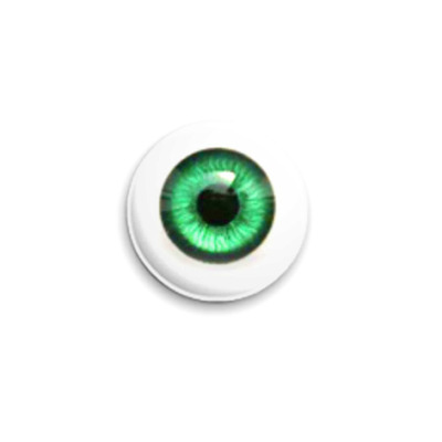 Значок 25мм  Глаз - изумрудный