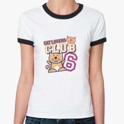 Женская футболка Ringer-T Клуб любителей кошек