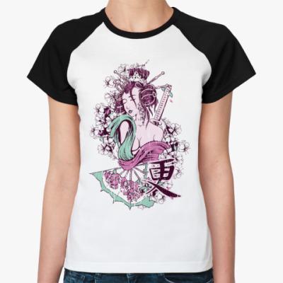 Женская футболка реглан  Цветение сакуры