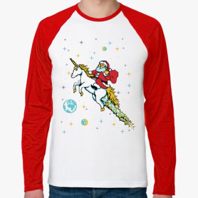 Футболка реглан с длинным рукавом Санта и единорог