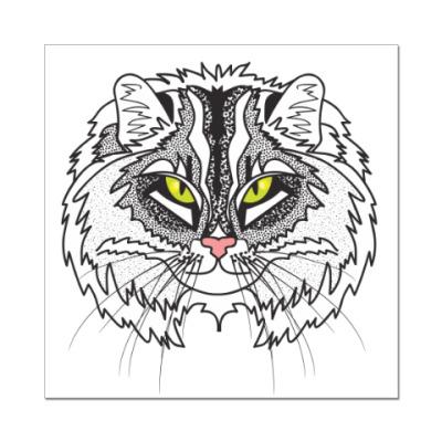 Наклейка (стикер) суровый сибирский кот