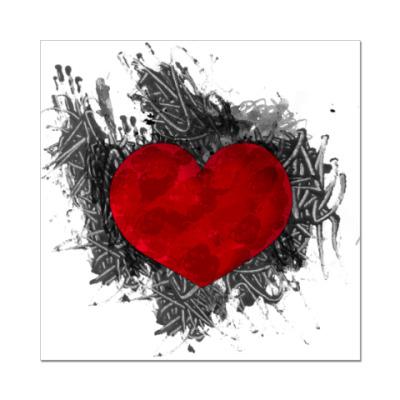Наклейка (стикер) Сердце в краске