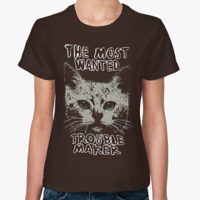 Женская футболка Самый разыскиваемый пакостник