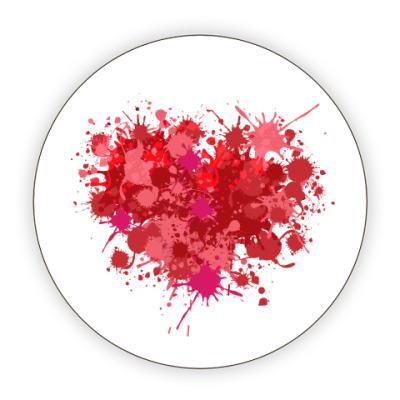 Костер (подставка под кружку) Сердце из брызг краски