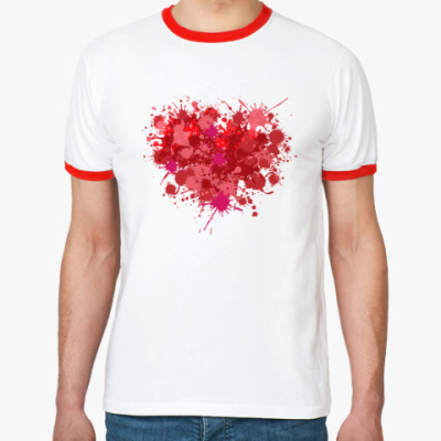 Футболка Ringer-T Сердце из брызг краски