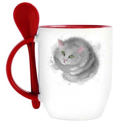 Кружка с ложкой Серый кот, кошка